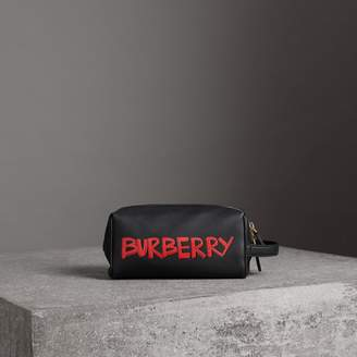 Burberry Graffiti Print Leather Pouch