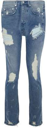 OAK Distressed Mid-Rise Slim-Leg Jeans