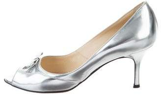 Luciano Padovan Metallic Peep-Toe Pumps