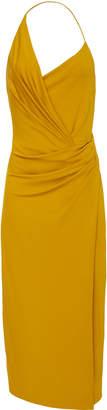 Cushnie Front Slit Ruched Crepe Dress