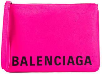 Balenciaga Cash Handle Pouch in Acid Fuchsia & Black | FWRD