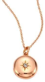 Astley Clarke Diamond& 14K Rose Gold Small Astley Locket Necklace