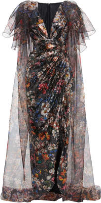 Elie Saab Paillettes Embellished Organza Puffy Sleeve Dress