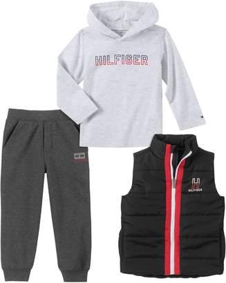 Tommy Hilfiger Little Boy's 3-Piece Vest, Cotton-Blend Fleece Hoodie Jogger Pants Set