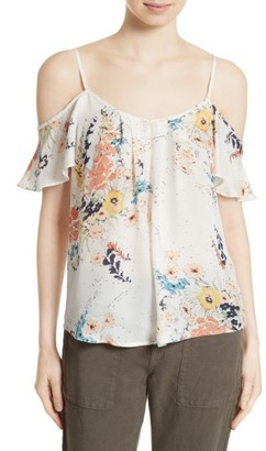 Women's Joie Adorlee Print Silk Cold Shoulder Top $188 thestylecure.com