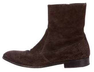 Prada Suede Embroidered Boots