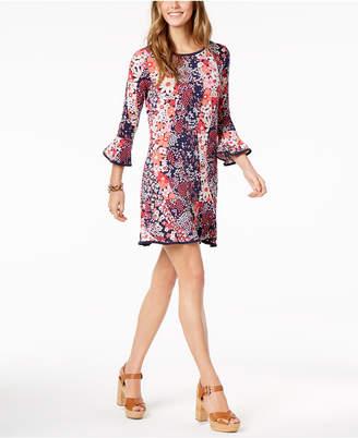 Michael Kors Printed Bell-Sleeve Shift Dress in Regular & Petite Sizes