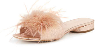 Loeffler Randall Lilly Crinkle Metallic Slide Sandal with Feather Pom