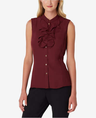 Tahari ASL Petite Sleeveless Ruffled Button-Front Top