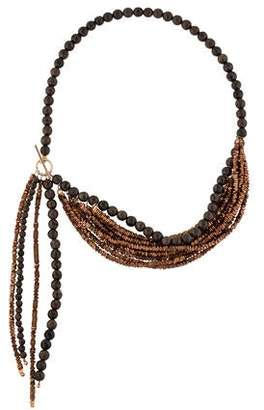 Brunello Cucinelli Agate & Metallic Bead Multistrand Necklace