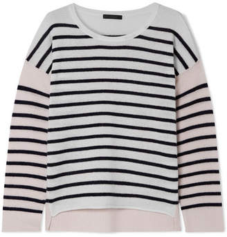 ATM Anthony Thomas Melillo Color-block Striped Cashmere Sweater - Cream