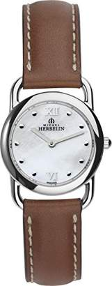 Mother of Pearl Michel Herbelin Equinox Women's Quartz Watch with Dial Analogue Display and Brown Leather Strap 17467/19GO