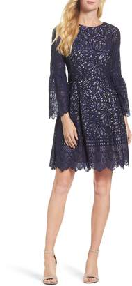 Eliza J Lace Bell Sleeve Fit & Flare Lace Dress