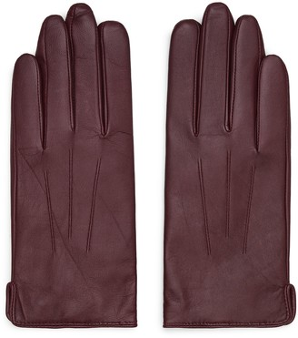 Reiss CHRISTA LEATHER GLOVES Oxblood