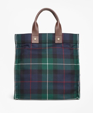 Brooks Brothers Black Watch Plaid Wool Tote Bag