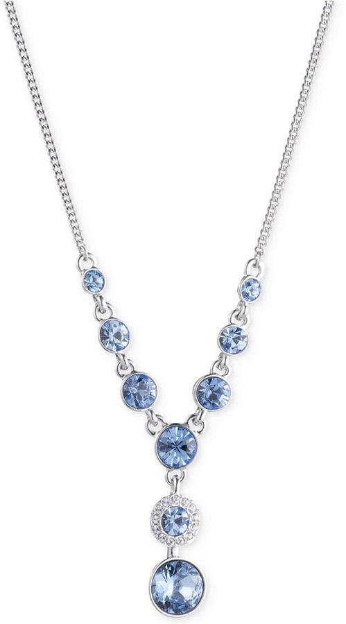 GivenchyGivenchy Silver-Tone Blue Crystal Lariat Necklace