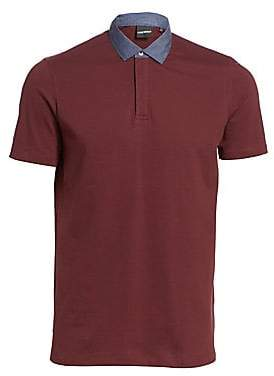 Emporio Armani Men's Chambray Collar Polo Shirt