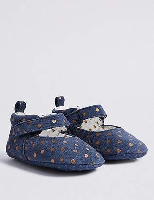 Marks and Spencer Baby Riptape Spotted Pram Shoes