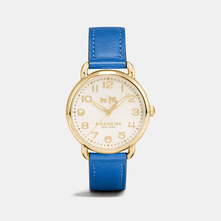 Coach  COACH Coach Delancey Gold Tone Sunray Dial Leather Strap Watch