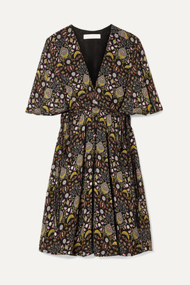 Chloé Printed Georgette Mini Dress - Black