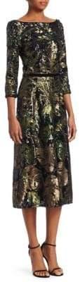 Marchesa Notte Sequin Palm Dress
