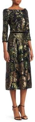 Marchesa Sequin Palm Dress