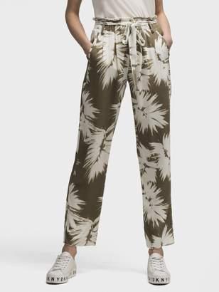 DKNY Printed Tie-Waist Pant