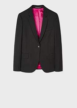 Paul Smith Women's Black Wool-Hopsack Blazer With 'Acapulco' Lining
