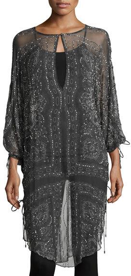 Haute HippieHaute Hippie The Rhiannon Silk Embellished Tunic, Gray Multi