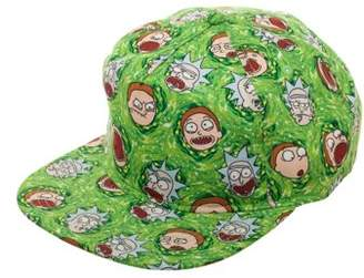 Rick and Morty Lightweight Flat Bill Snapback Hat with All-Over Rick and Morty Cartoon Sublimation