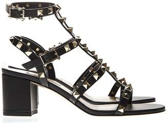 Valentino Black Leather Rockstud Sandal With Double Strap Closure