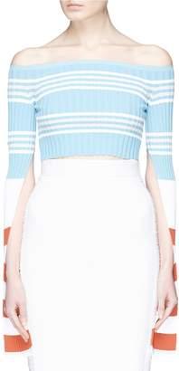 MRZ Split sleeve stripe rib knit cropped off-shoulder top