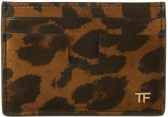 Tom Ford Suede Leopard Print Card Holder