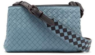 Bottega Veneta Intrecciato Leather Cross Body Bag - Womens - Light Blue