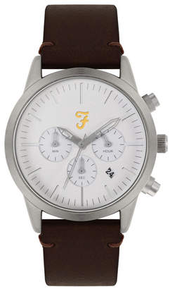 Farah Men the Chrono Collection Brown Leather Strap Watch 42mm