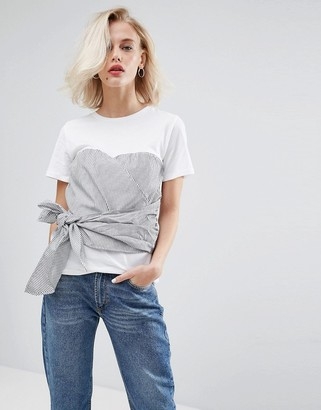 Pull&Bear Stripe Double Layer Corset Tie T-Shirt $32 thestylecure.com