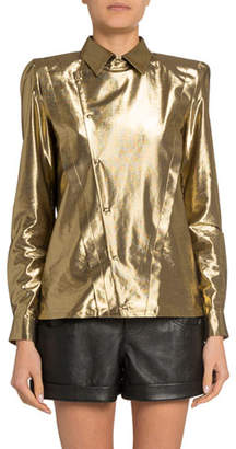 Saint Laurent Golden Lame Asymmetric Button-Front Shirt
