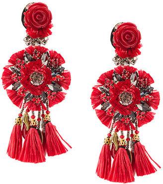 clip-on floral tassel earrings