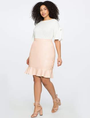 ELOQUII Faux Leather Ruffle Hem Mini Skirt