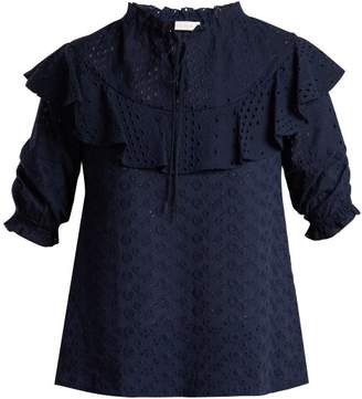 See by Chloe Floral Embroidered Cotton Blouse - Womens - Navy