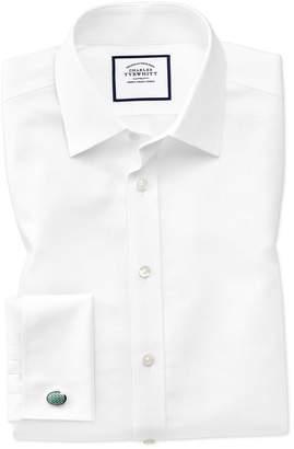 Charles Tyrwhitt Extra Slim Fit Non-Iron Royal Panama White Cotton Dress Shirt Single Cuff Size 14.5/32