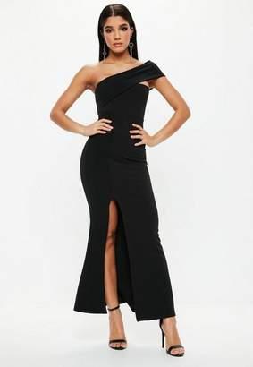 Missguided Petite Black One Shoulder Maxi Dress