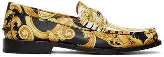 Versace Black and White Hibiscus Loafers