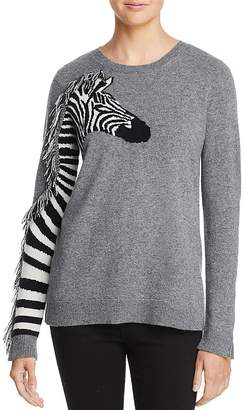 AQUA Cashmere Zebra Fringed Cashmere Sweater - 100% Exclusive