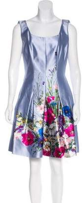Oscar de la Renta Silk Bouquet Print Dress