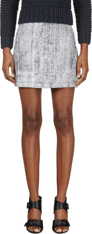 3.1 Phillip Lim Black Leather A-Line Lambskin Skirt