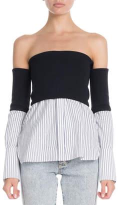 Victoria Beckham Victoria Off-The-Shoulder Striped-Hem Twofer Blouse