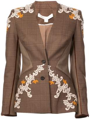 Jonathan Simkhai appliqué detail plaid jacket