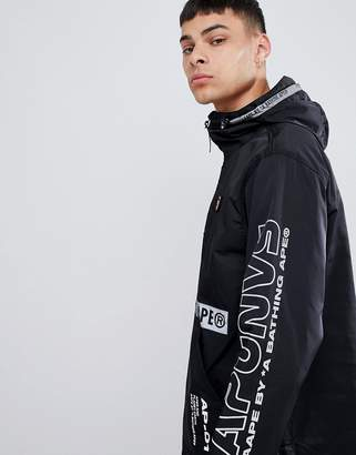 A Bathing Ape AAPE BY AAPE By overhead jacket with sleeve print in black