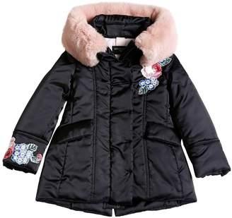 MonnaLisa Nylon Satin Puffer Coat W/ Faux Fur